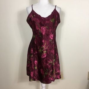 Sophia by Delicates Maroon Satin Floral Slip Dress